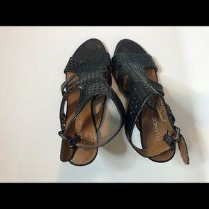Franco Sarto black wedge sandals